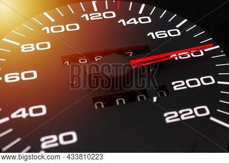 Car Speedometer. Auto Car Speedometer Shows 180 Km H Or Miles.closeup Shot,dark Black Background.aut