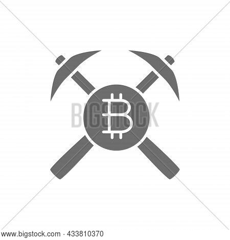 Bitcoin Coin And Pickaxes, Blockchain, Cryptocurrency Grey Icon.