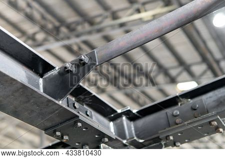 Connect Joint Plate And Lock Bolt Of Steel Structure In Construction Work In Factory