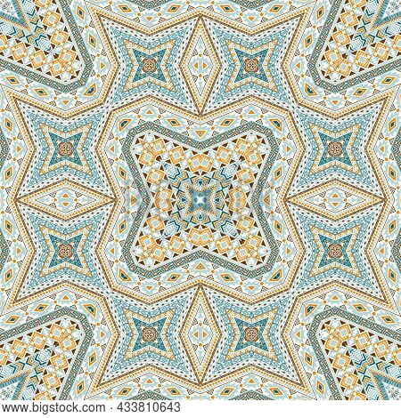 American Repeating Ornament Vector Design. Abstract Geometric Texture. Rug Print In Ethnic Style.