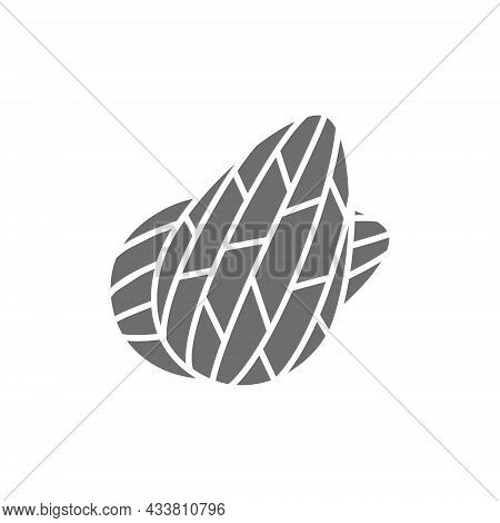 Almond Nuts Grey Icon. Isolated On White Background