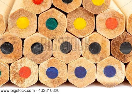 Many Different Colored Pencils.color Pencils In Arrange In Color Wheel Colors Background.