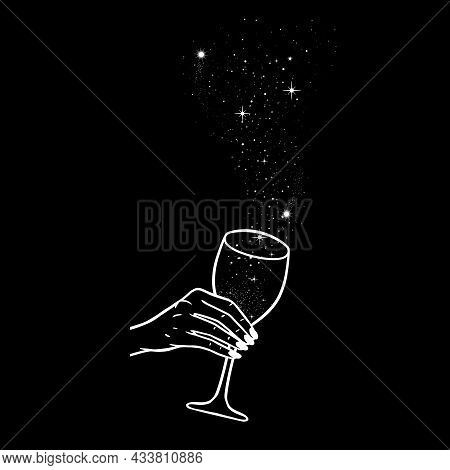Cheers, Girls Drinking, Hands With Wine Glasses And Space Stars Potion, Vector Illustration