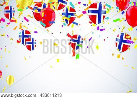 Norway Independence Day Poster. Patriotic Holiday. Norway Balloons