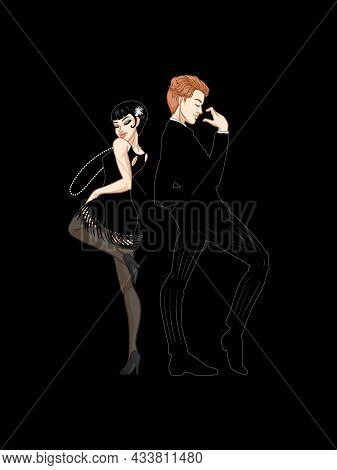 Retro Party Card, Man And Woman Dressed In 1920s Style Dancing, Flapper Girl, Handsome Guy In Vintag