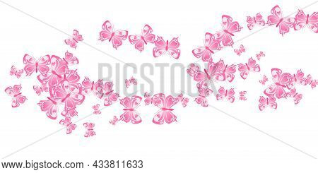 Fairy Pink Butterflies Isolated Vector Wallpaper. Summer Cute Insects. Simple Butterflies Isolated B