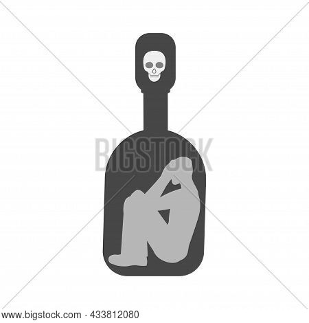 A Man Trapped In A Bottle Of Acaogole. Propaganda Of Drunkenness. Death In A Bottle Of Vodka. Vector