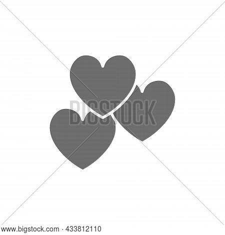 Hearts, Favorite, Feedback Grey Icon. Isolated On White Background