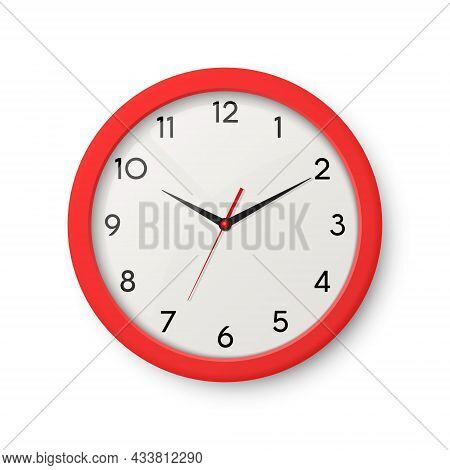 Vector 3d Realistic Red Wall Office Clock Isolated. White Dial. Design Template Of Wall Clock Closeu
