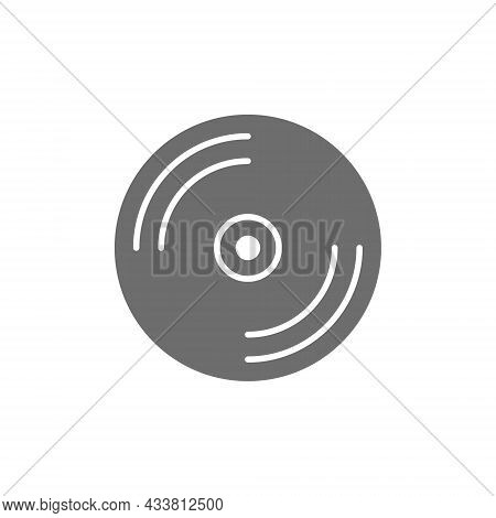 Cd Disk, Dvd Grey Icon. Isolated On White Background
