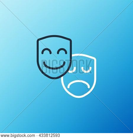 Line Comedy And Tragedy Theatrical Masks Icon Isolated On Blue Background. Colorful Outline Concept.