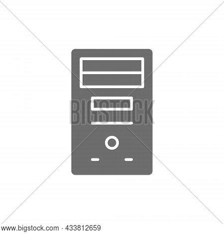 System Unit, Computer Case, Console Grey Icon.