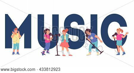Music Huge Word With Children Playing Musical Instruments, Flat Vector Illustration Isolated On Whit