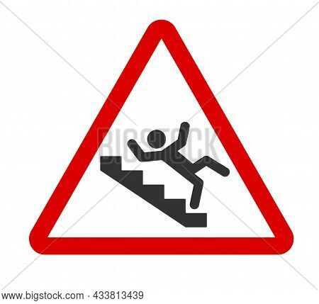Caution Stairway Sign. A Man Falling Down The Stairs. A Sign Warning Of Danger. Slippery Stairs Icon