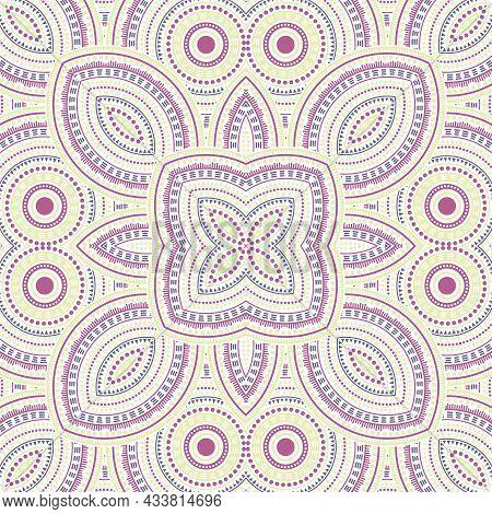 Fine Victorian Majolica Tile Seamless Pattern. Ethnic Structure Vector Motif. Quilt Print Design. Cl