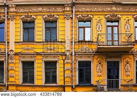 One Of The Most Beautiful Facades In Peter Sagaidachny Street In Kyiv. Six Windows And Two Doors To