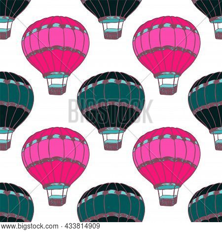 Cartoon Hot Air Balloons Illustration Vector Seamless Patter.