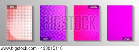 Creative Point Faded Screen Tone Cover Templates Vector Batch. Corporate Brochure Perforated Screen