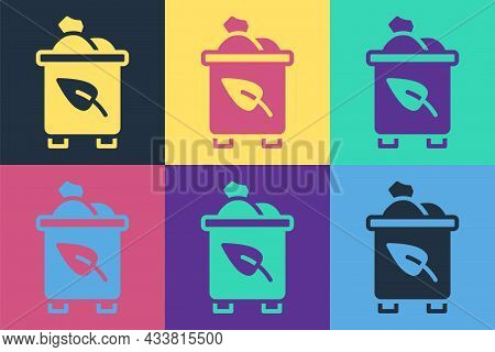 Pop Art Recycle Bin With Recycle Symbol Icon Isolated On Color Background. Trash Can Icon. Garbage B