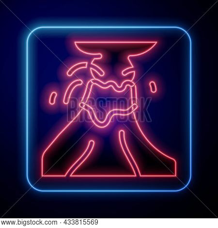 Glowing Neon Volcano Eruption With Lava Icon Isolated On Black Background. Vector