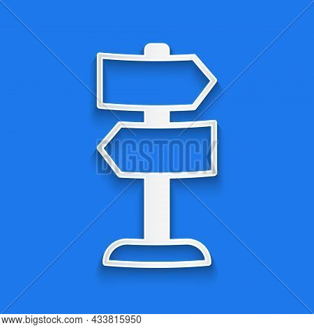 Paper Cut Road Traffic Sign. Signpost Icon Isolated On Blue Background. Pointer Symbol. Isolated Str