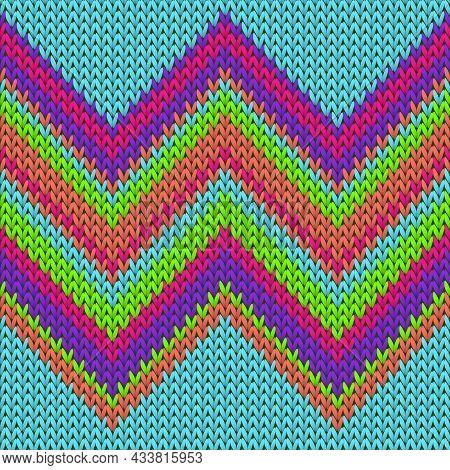 Closeup Zig Zal Lines Knitted Texture Geometric