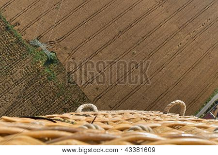 Field With Electrical Tower Top View