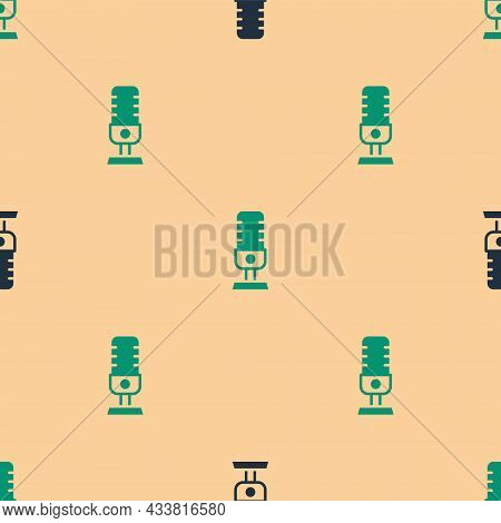 Green And Black Microphone Icon Isolated Seamless Pattern On Beige Background. On Air Radio Mic Micr