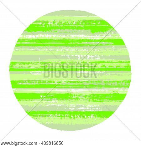 Retro Circle Vector Geometric Shape With Striped Texture Of Paint Horizontal Lines. Old Paint Textur