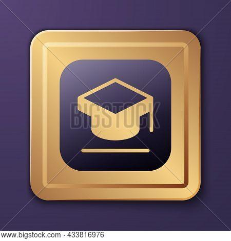 Purple Graduation Cap Icon Isolated On Purple Background. Graduation Hat With Tassel Icon. Gold Squa