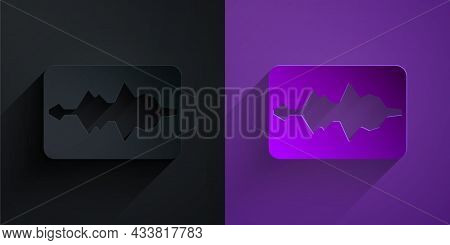 Paper Cut Music Wave Equalizer Icon Isolated On Black On Purple Background. Sound Wave. Audio Digita