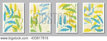 Floral Wall Art Posters Set. Summer Twigs With Foliage. Eucalyptus