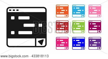 Black New Chat Messages Notification On Laptop Icon Isolated On White Background. Smartphone Chattin