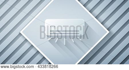 Paper Cut Air Conditioner Icon Isolated On Grey Background. Split System Air Conditioning. Cool And