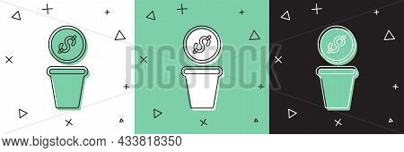 Set Donation Money Icon Isolated On White And Green, Black Background. Hand Give Money As Donation S