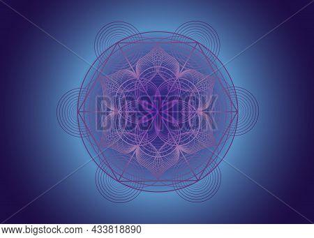 Seed Of Life Symbol Sacred Geometry. Logo Icon Geometric Mystic Mandala Of Alchemy Esoteric Flower O