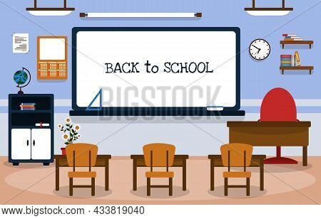 Back To School Class Classroom Whiteboard Table Chair Education Illustration