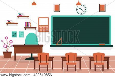 Class School Nobody Classroom Blackboard Table Chair Education Illustration