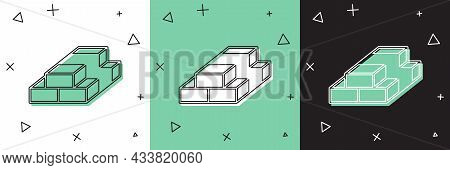 Set Stacks Paper Money Cash Icon Isolated On White And Green, Black Background. Money Banknotes Stac