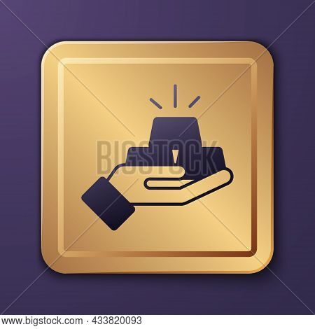 Purple Gold Bars Icon Isolated On Purple Background. Banking Business Concept. Gold Square Button. V