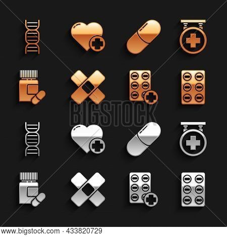 Set Crossed Bandage Plaster, Hospital Signboard, Pills In Blister Pack, Medicine Bottle Pills, Or Ta