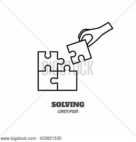 Psychological Problems Line Icon Concept. Puzzle And Human Hand Solving Outline Stroke Element. Psyc