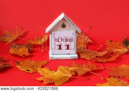 Calendar For October 11 : Decorative House With The Name Of The Month In English, Number 11, Autumn