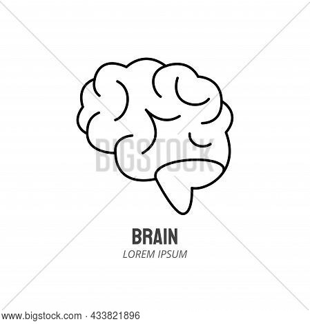 Human Brain Line Icon. Human Marrow Side View Outline Stroke Element. Psychologist Counseling. Edita