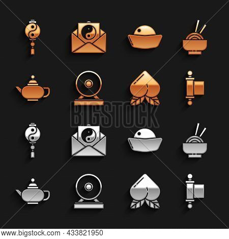 Set Gong, Asian Noodles In Bowl, Decree, Paper, Parchment, Scroll, Peach Fruit, Chinese Tea Ceremony