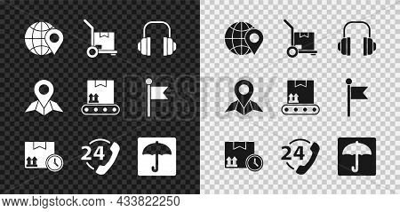 Set Location On The Globe, Hand Truck And Boxes, Headphones, Cardboard Fast Time, Telephone 24 Hours