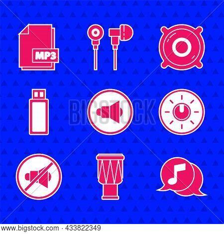 Set Speaker Volume, Drum, Musical Note In Speech Bubble, Dial Knob Level Technology Settings, Mute,
