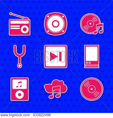 Set Fast Forward, Music Streaming Service, Vinyl Disk, Voice Assistant, Player, Musical Tuning Fork,