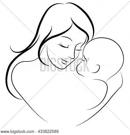 A Silhouette Of A Mother Holding Her Baby In The Form Of A Heart. Minimalism. Design Suitable For Mo