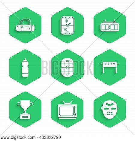 Set Ice Hockey Rink, Retro Tv, Hockey Mask, Table, Award Cup, Fitness Shaker, Mechanical Scoreboard